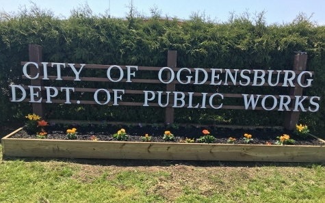City of Ogdensburg Department of Public Works Flower Box Sign